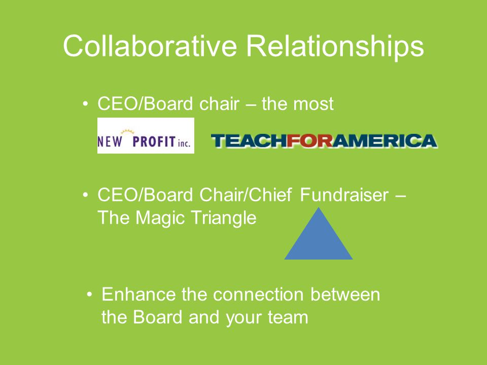 Collaborative Relationships CEO/Board chair – the most important CEO/Board Chair/Chief Fundraiser – The Magic Triangle Enhance the connection between the Board and your team