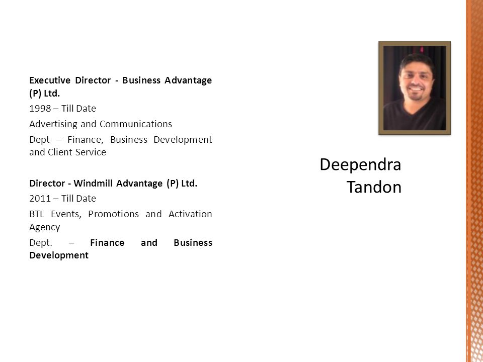 Executive Director - Business Advantage (P) Ltd.