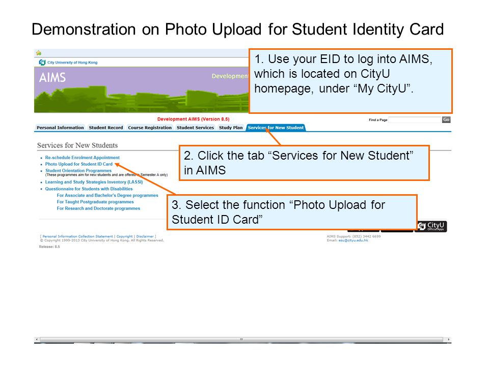 Demonstration on Photo Upload for Student Identity Card 2.