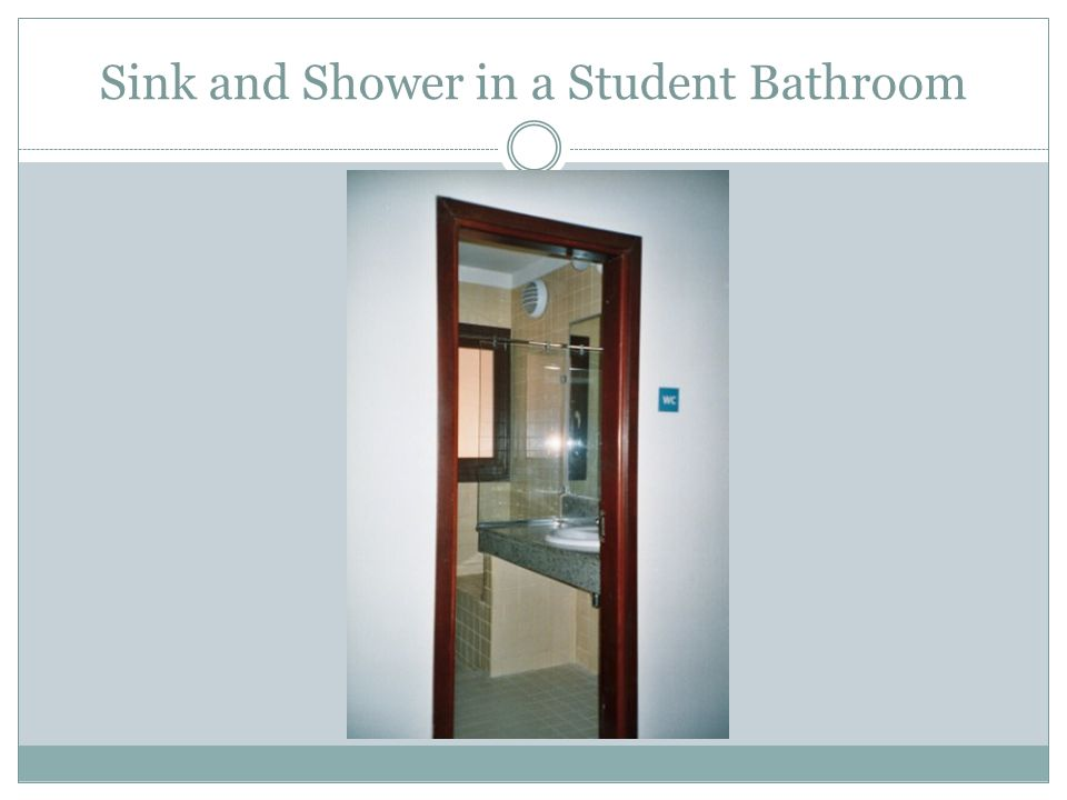 Sink and Shower in a Student Bathroom