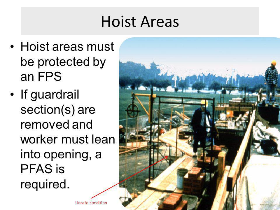 Hoist Areas Hoist areas must be protected by an FPS If guardrail section(s) are removed and worker must lean into opening, a PFAS is required. Unsafe