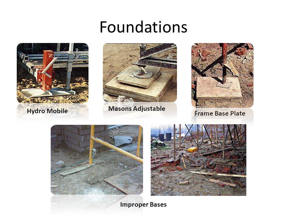 Foundations Hydro Mobile Frame Base Plate Masons Adjustable Improper Bases