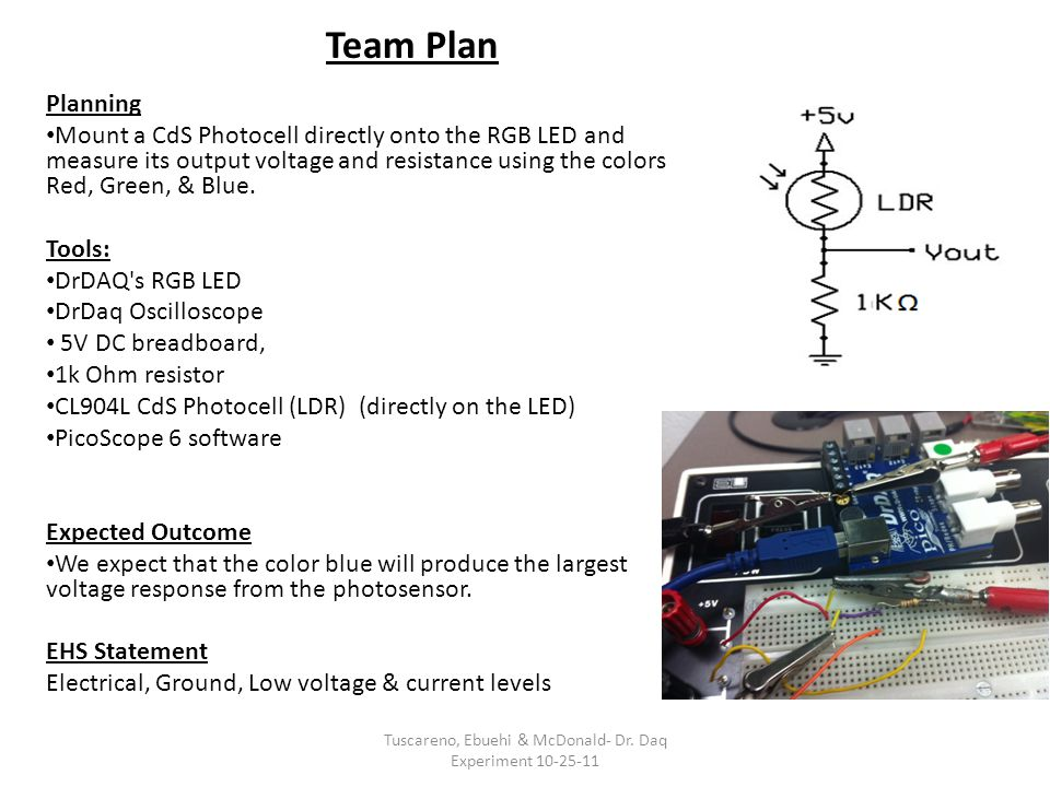 Team Plan Planning Mount a CdS Photocell directly onto the RGB LED and measure its output voltage and resistance using the colors Red, Green, & Blue.