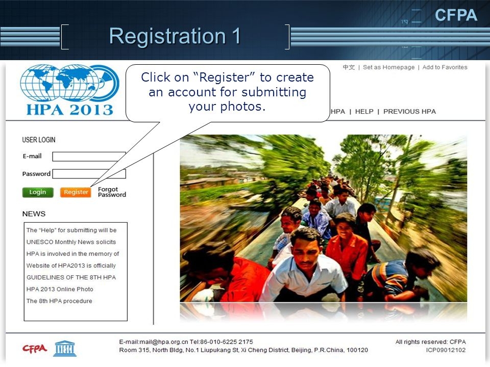 CFPA Registration 1 Click on Register to create an account for submitting your photos.