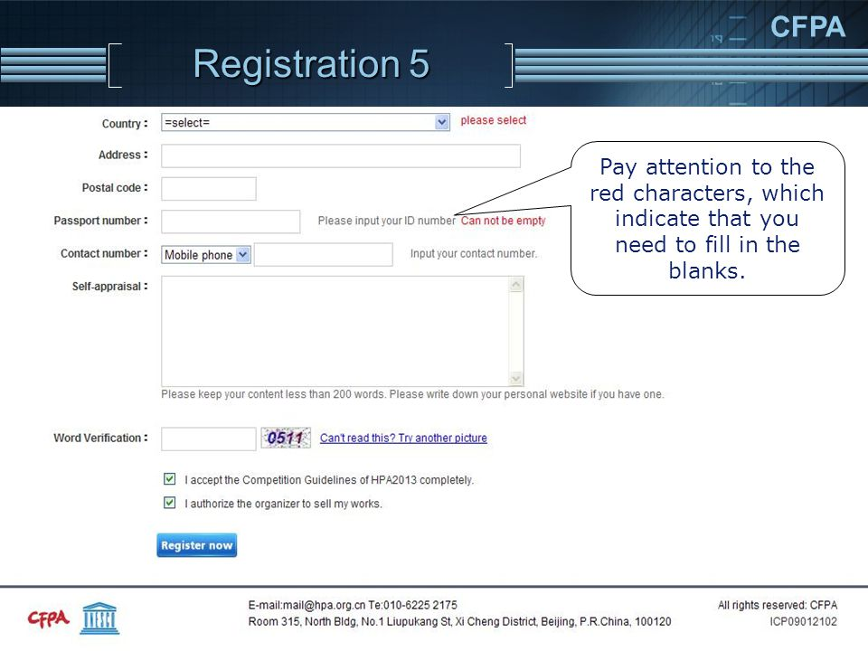 CFPA Registration 5 Pay attention to the red characters, which indicate that you need to fill in the blanks.