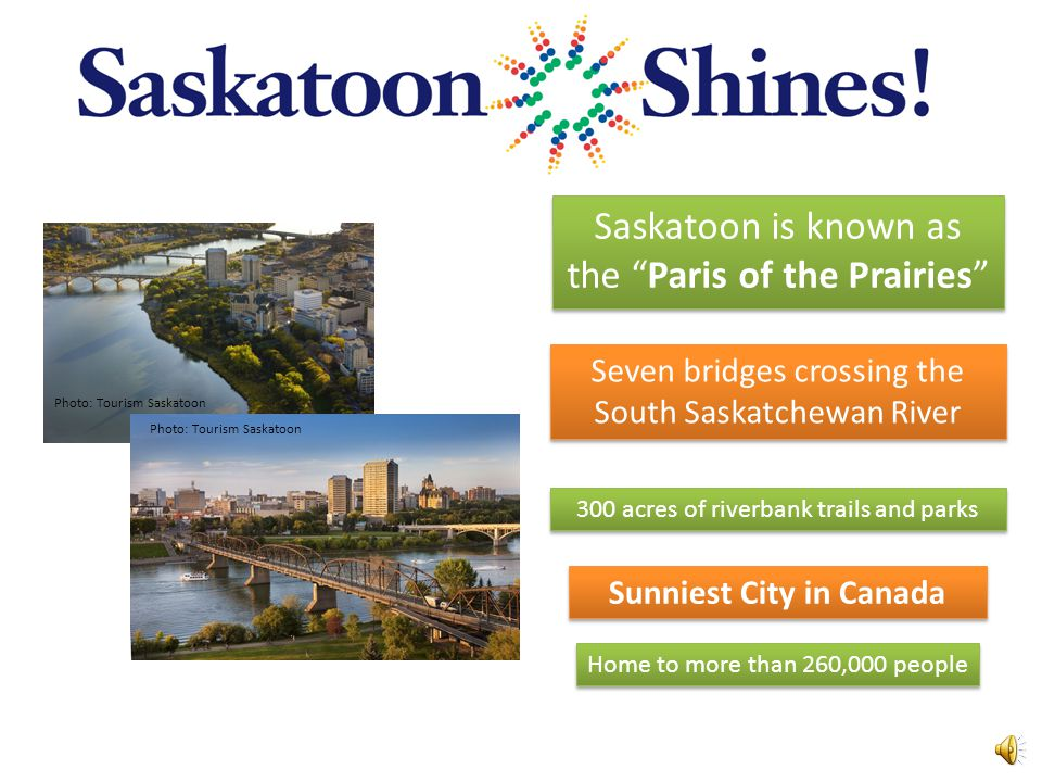 Seven bridges crossing the South Saskatchewan River 300 acres of riverbank trails and parks Home to more than 260,000 people Sunniest City in Canada Saskatoon is known as the Paris of the Prairies