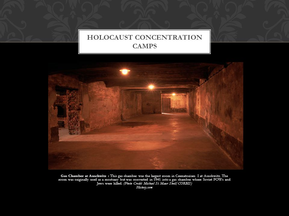 Gas Chamber at Auschwitz : This gas chamber was the largest room in Crematorium I at Auschwitz. The room was originally used as a mortuary but was con