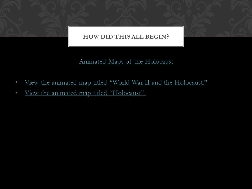 Animated Maps of the Holocaust View the animated map titled World War II and the Holocaust. View the animated map titled Holocaust. HOW DID THIS ALL B