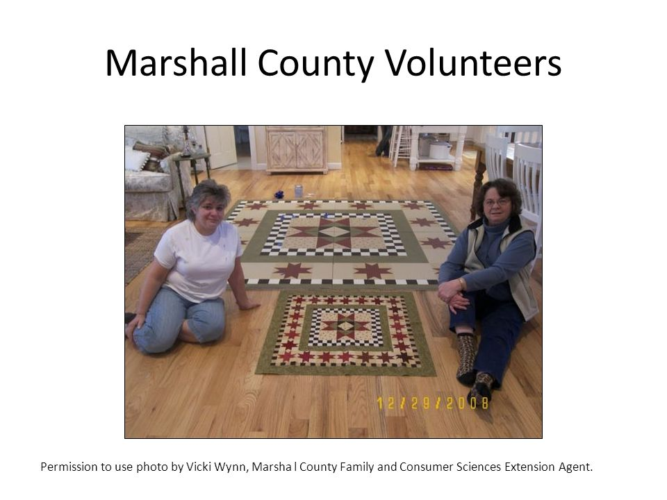 Marshall County Volunteers Permission to use photo by Vicki Wynn, Marsha l County Family and Consumer Sciences Extension Agent.