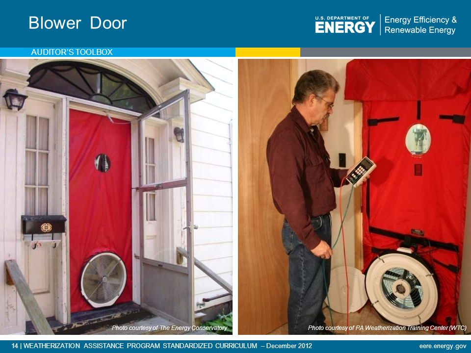 14 | WEATHERIZATION ASSISTANCE PROGRAM STANDARDIZED CURRICULUM – December 2012eere.energy.gov Blower Door Photo courtesy of The Energy Conservatory Photo courtesy of PA Weatherization Training Center (WTC) AUDITORS TOOLBOX