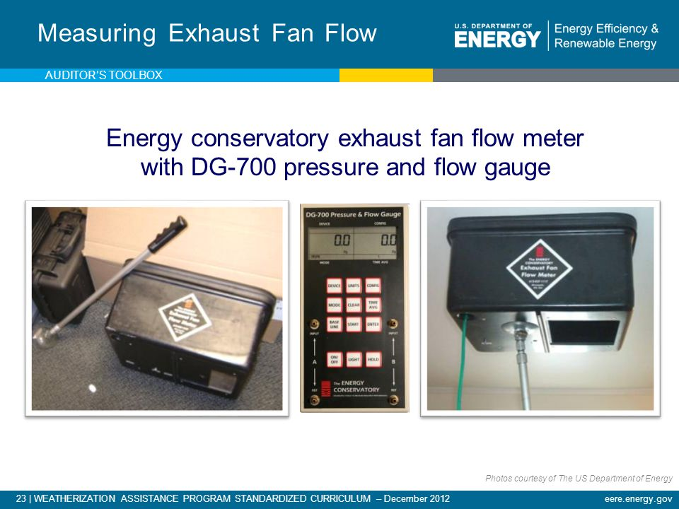 23 | WEATHERIZATION ASSISTANCE PROGRAM STANDARDIZED CURRICULUM – December 2012eere.energy.gov Measuring Exhaust Fan Flow Energy conservatory exhaust f