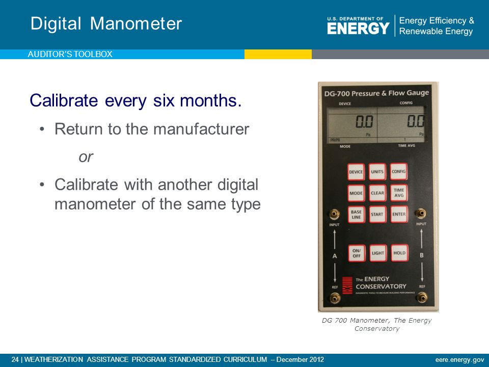 24 | WEATHERIZATION ASSISTANCE PROGRAM STANDARDIZED CURRICULUM – December 2012eere.energy.gov Digital Manometer Calibrate every six months. Return to