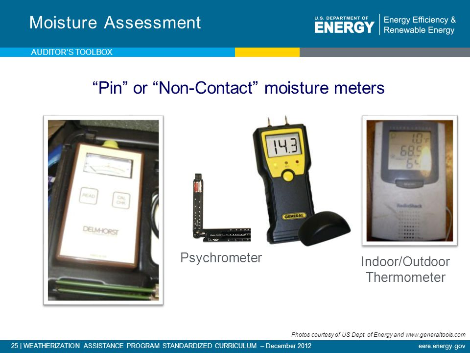 25 | WEATHERIZATION ASSISTANCE PROGRAM STANDARDIZED CURRICULUM – December 2012eere.energy.gov Moisture Assessment Psychrometer Pin or Non-Contact mois
