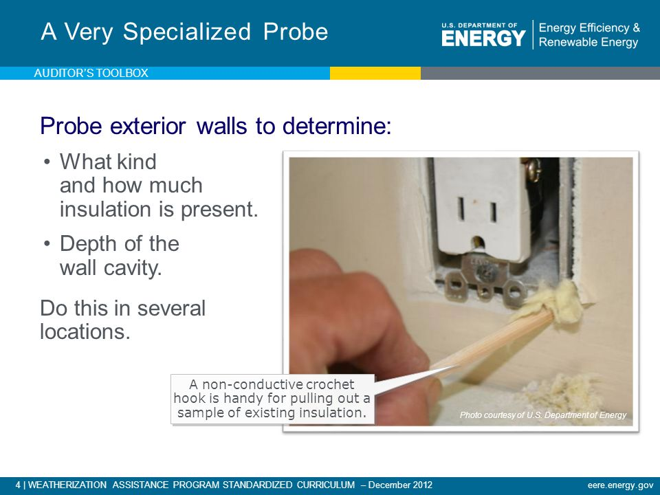 4 | WEATHERIZATION ASSISTANCE PROGRAM STANDARDIZED CURRICULUM – December 2012eere.energy.gov Probe exterior walls to determine: What kind and how much insulation is present.