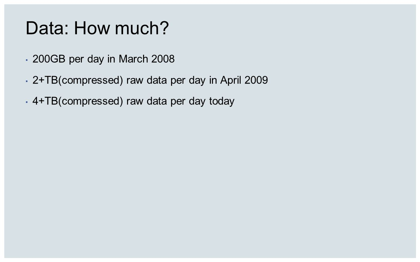 Data: How much? 200GB per day in March 2008 2+TB(compressed) raw data per day in April 2009 4+TB(compressed) raw data per day today