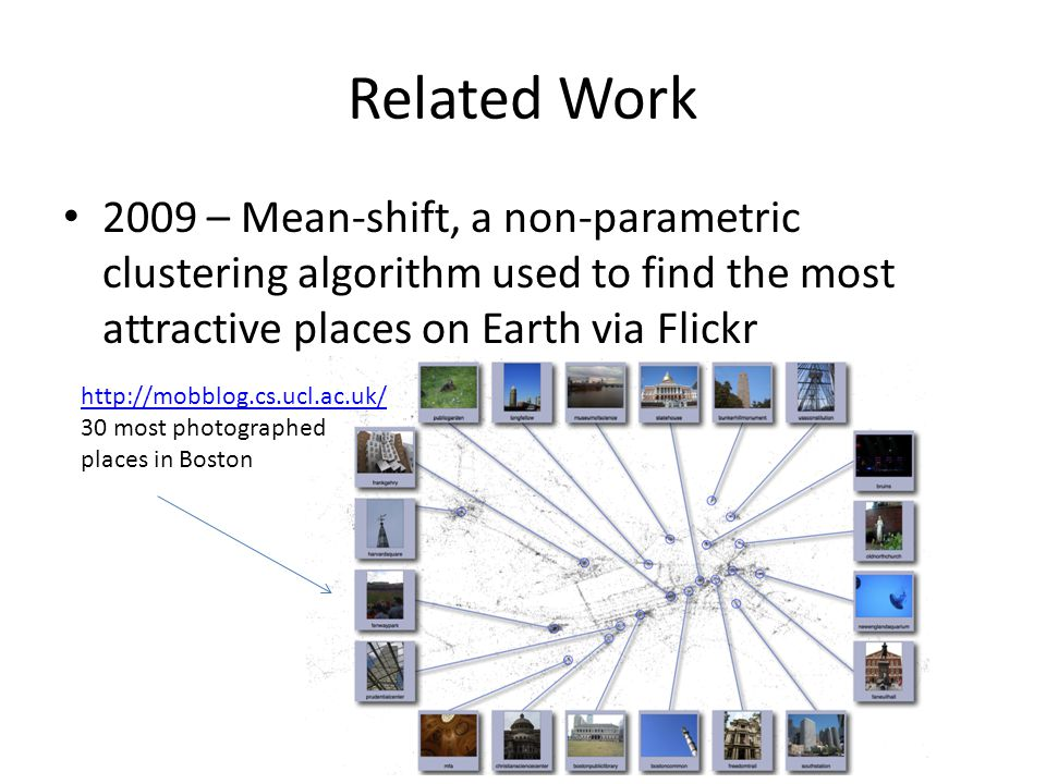 Related Work 2009 – Mean-shift, a non-parametric clustering algorithm used to find the most attractive places on Earth via Flickr http://mobblog.cs.ucl.ac.uk/ 30 most photographed places in Boston