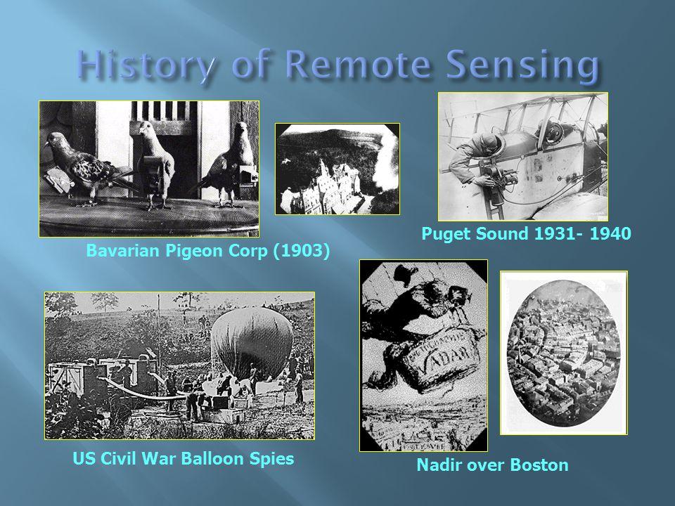 Bavarian Pigeon Corp (1903) US Civil War Balloon Spies Nadir over Boston Puget Sound 1931- 1940