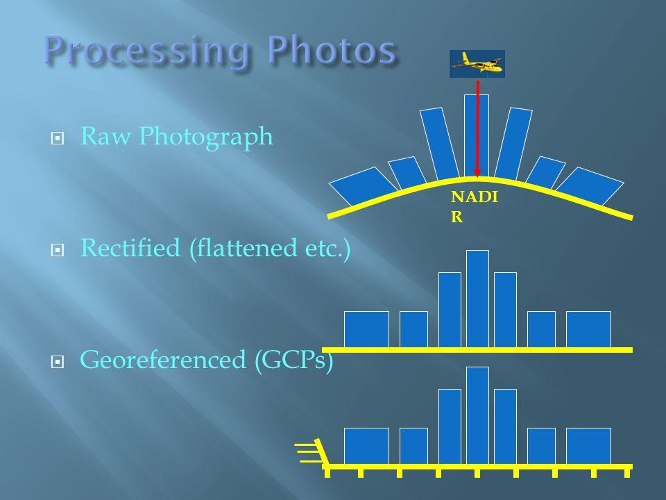 Raw Photograph Rectified (flattened etc.) Georeferenced (GCPs) NADI R