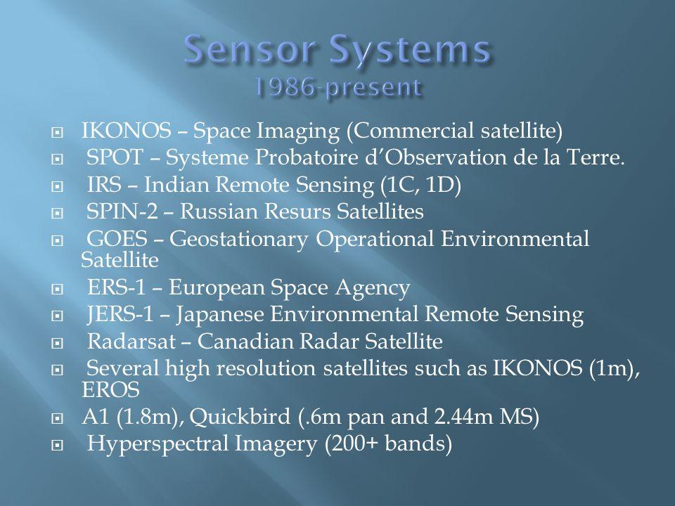 IKONOS – Space Imaging (Commercial satellite) SPOT – Systeme Probatoire dObservation de la Terre.