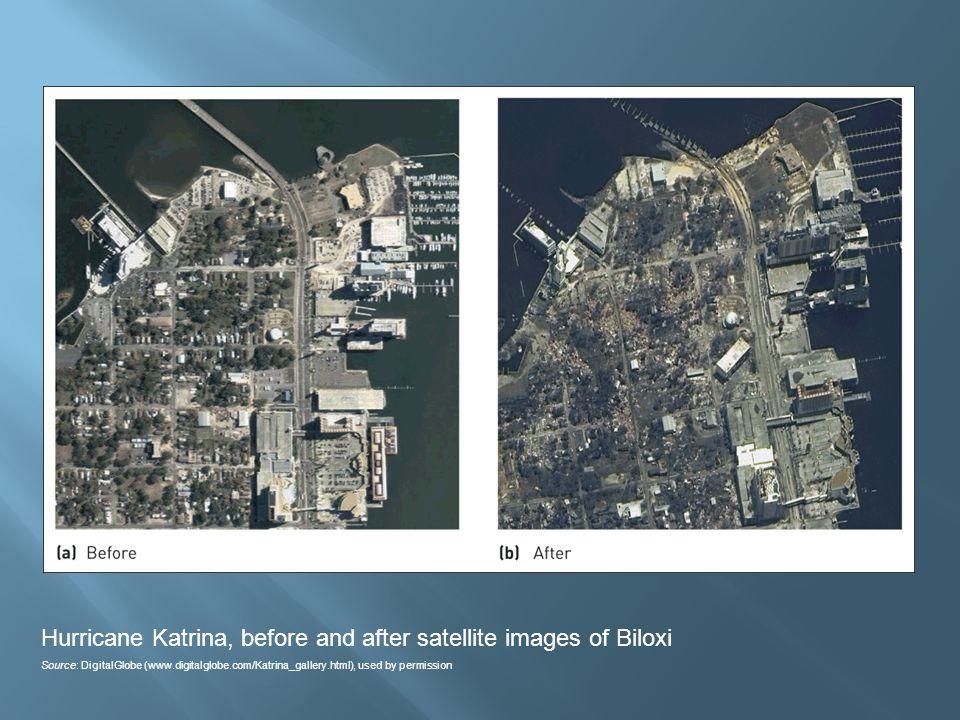 Hurricane Katrina, before and after satellite images of Biloxi Source: DigitalGlobe (www.digitalglobe.com/Katrina_gallery.html), used by permission