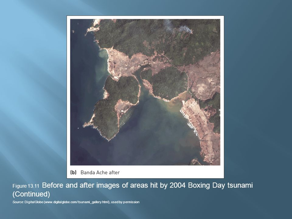 Figure 13.11 Before and after images of areas hit by 2004 Boxing Day tsunami (Continued) Source: DigitalGlobe (www.digitalglobe.com/ tsunami_gallery.html), used by permission