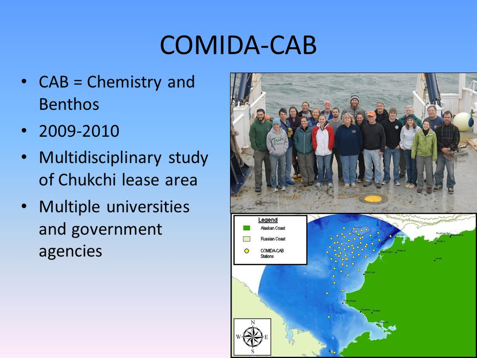 COMIDA-CAB CAB = Chemistry and Benthos 2009-2010 Multidisciplinary study of Chukchi lease area Multiple universities and government agencies