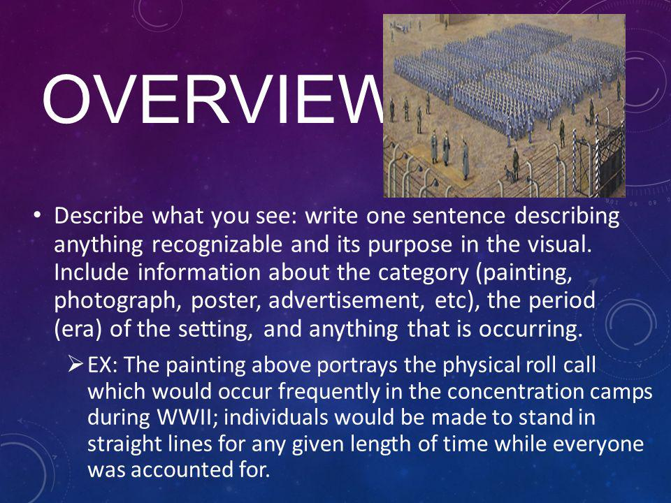 OVERVIEW Describe what you see: write one sentence describing anything recognizable and its purpose in the visual. Include information about the categ