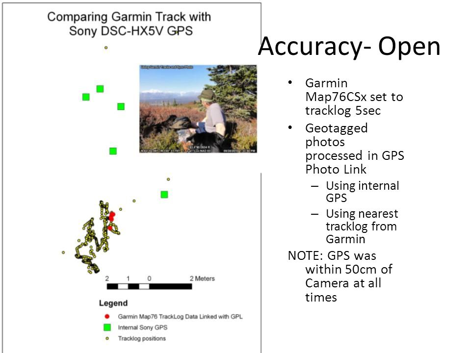 Accuracy- Open Garmin Map76CSx set to tracklog 5sec Geotagged photos processed in GPS Photo Link – Using internal GPS – Using nearest tracklog from Garmin NOTE: GPS was within 50cm of Camera at all times