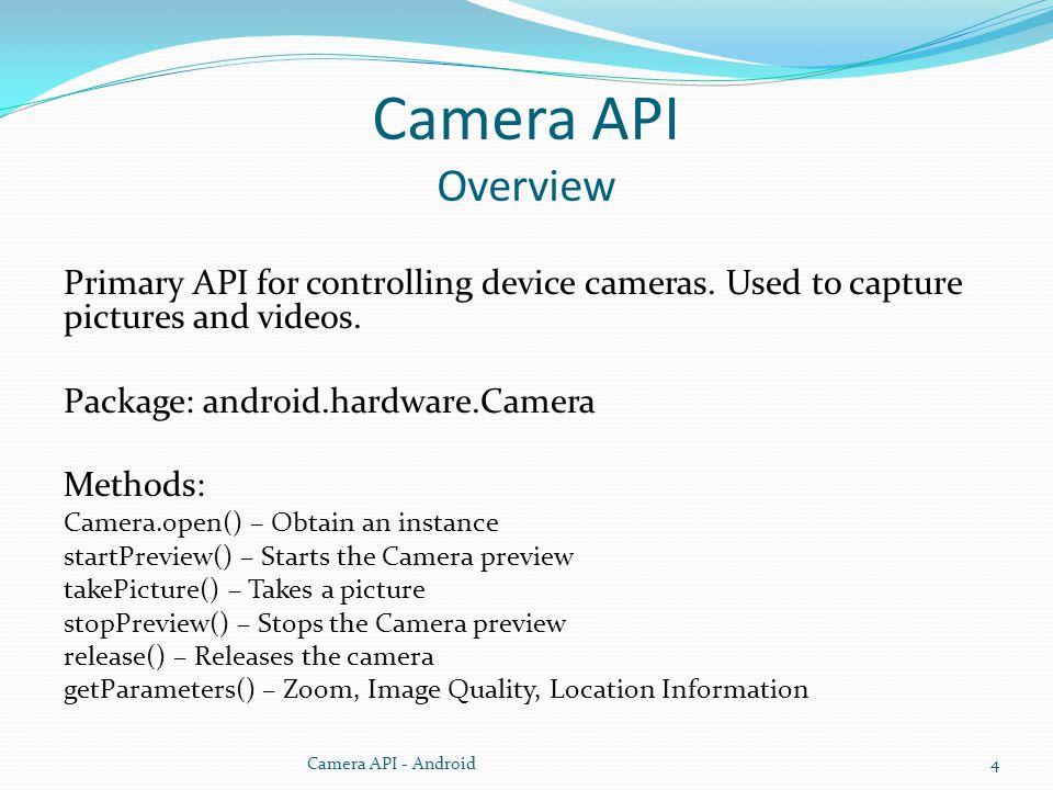 Camera API Overview Primary API for controlling device cameras.