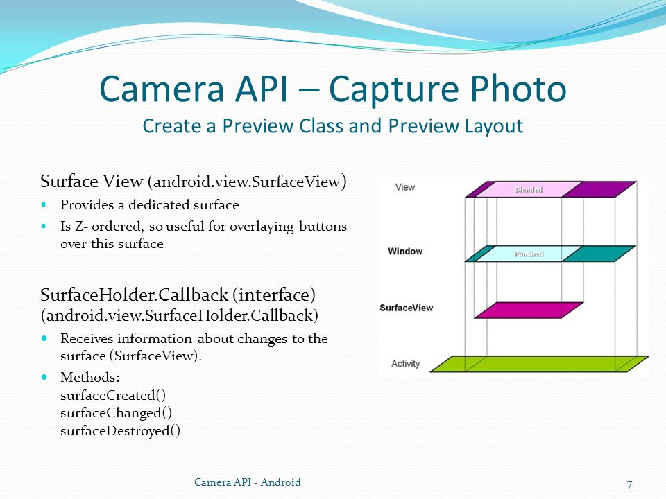 Camera API – Capture Photo Create a Preview Class and Preview Layout Surface View (android.view.SurfaceView ) Provides a dedicated surface Is Z- ordered, so useful for overlaying buttons over this surface SurfaceHolder.Callback (interface) (android.view.SurfaceHolder.Callback) Receives information about changes to the surface (SurfaceView).