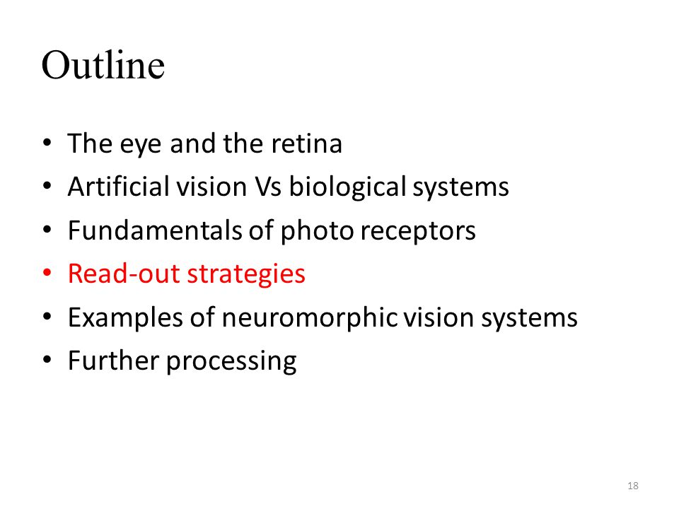 Outline The eye and the retina Artificial vision Vs biological systems Fundamentals of photo receptors Read-out strategies Examples of neuromorphic vision systems Further processing 18