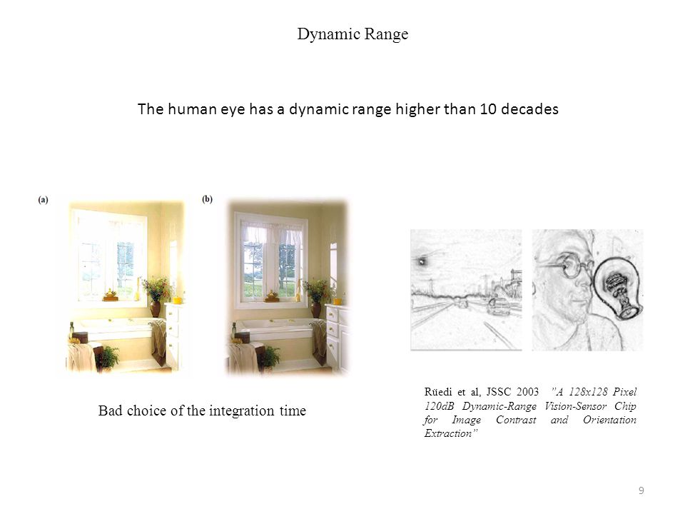 Dynamic Range Rüedi et al, JSSC 2003 A 128x128 Pixel 120dB Dynamic-Range Vision-Sensor Chip for Image Contrast and Orientation Extraction Bad choice of the integration time The human eye has a dynamic range higher than 10 decades 9