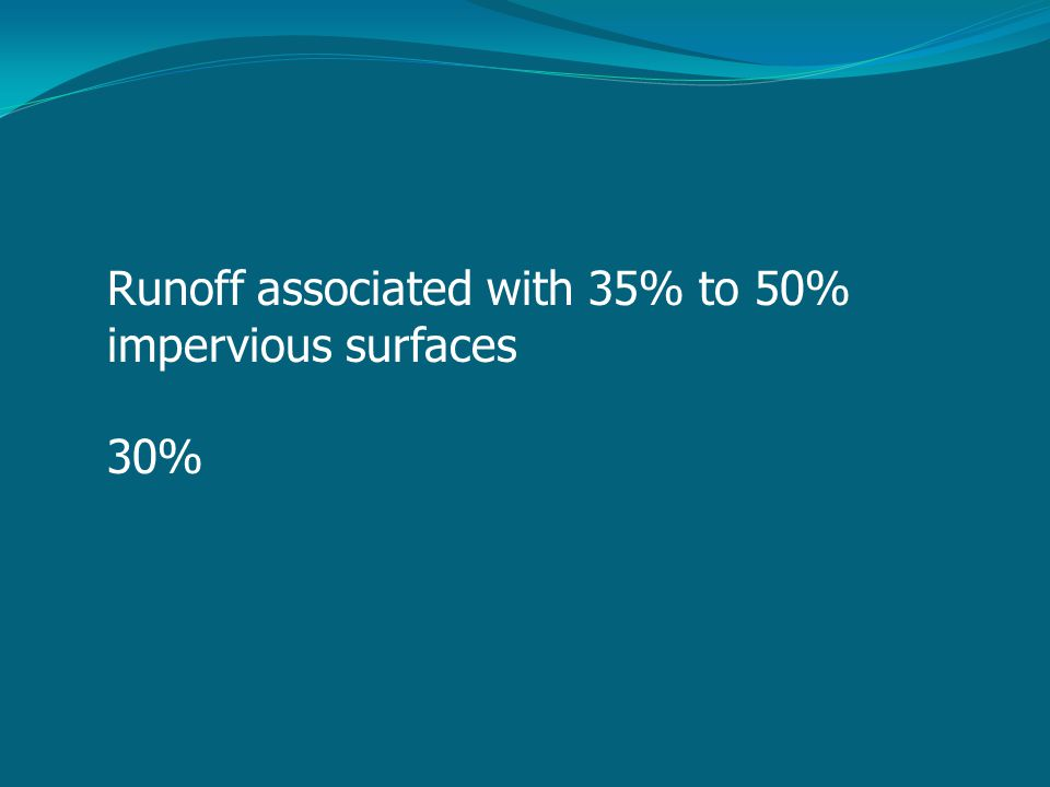 Runoff associated with 35% to 50% impervious surfaces 30%