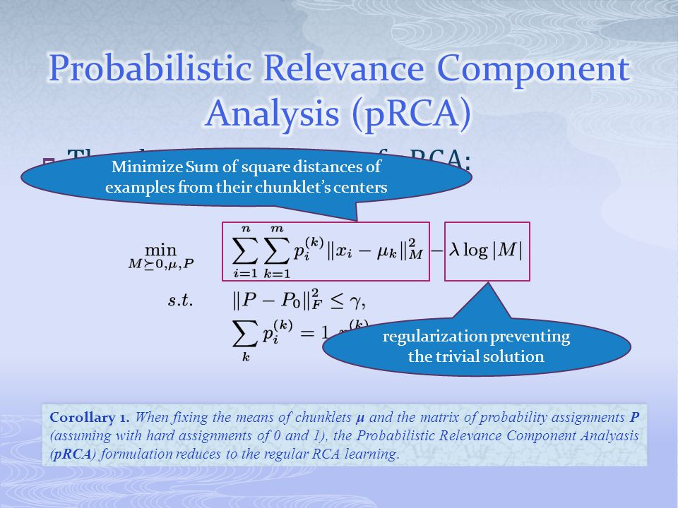 The objective function of pRCA: means Corollary 1.