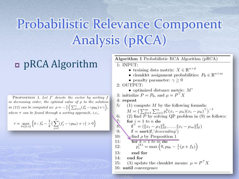 pRCA Algorithm