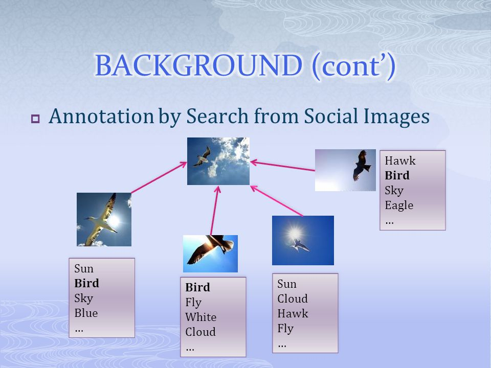Annotation by Search from Social Images Sun Bird Sky Blue … Sun Bird Sky Blue … Bird Fly White Cloud … Bird Fly White Cloud … Sun Cloud Hawk Fly … Sun Cloud Hawk Fly … Hawk Bird Sky Eagle … Hawk Bird Sky Eagle …