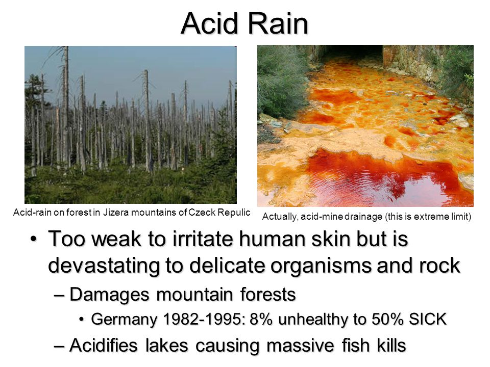 Acid Rain Too weak to irritate human skin but is devastating to delicate organisms and rockToo weak to irritate human skin but is devastating to delicate organisms and rock –Damages mountain forests Germany 1982-1995: 8% unhealthy to 50% SICKGermany 1982-1995: 8% unhealthy to 50% SICK –Acidifies lakes causing massive fish kills Acid-rain on forest in Jizera mountains of Czeck Repulic Actually, acid-mine drainage (this is extreme limit)