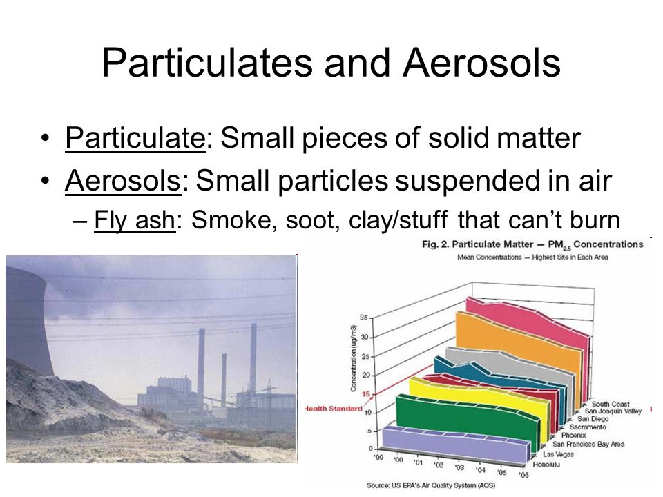 Particulates and Aerosols Particulate: Small pieces of solid matter Aerosols: Small particles suspended in air –Fly ash: Smoke, soot, clay/stuff that cant burn