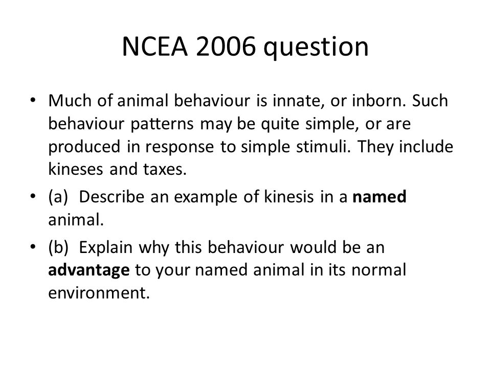 NCEA 2006 question Much of animal behaviour is innate, or inborn. Such behaviour patterns may be quite simple, or are produced in response to simple s
