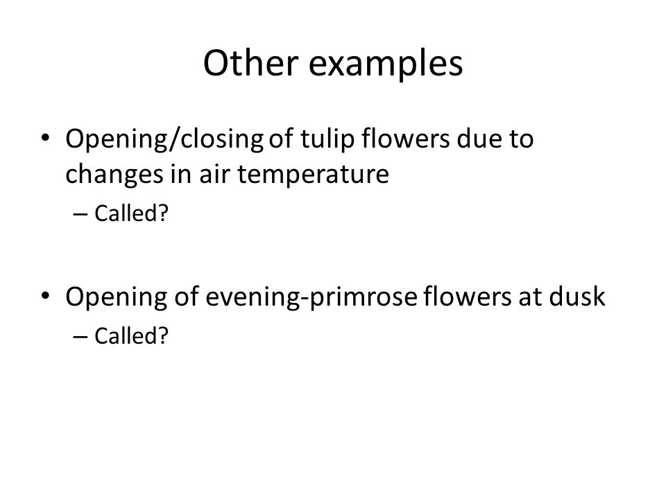 Other examples Opening/closing of tulip flowers due to changes in air temperature – Called.
