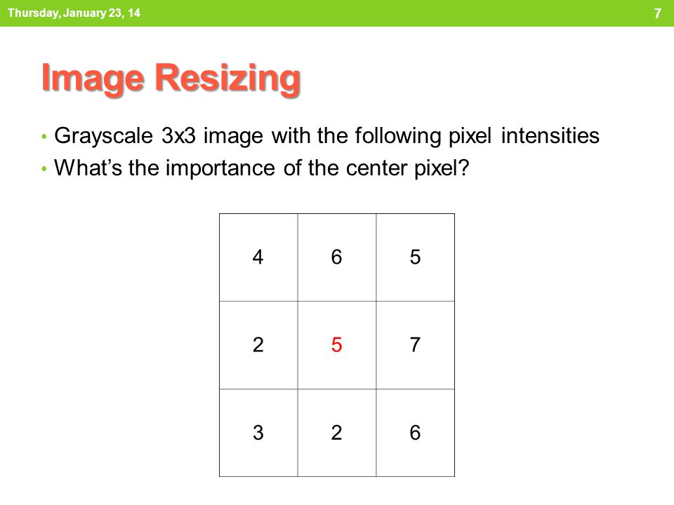 Image Resizing Grayscale 3x3 image with the following pixel intensities Whats the importance of the center pixel.