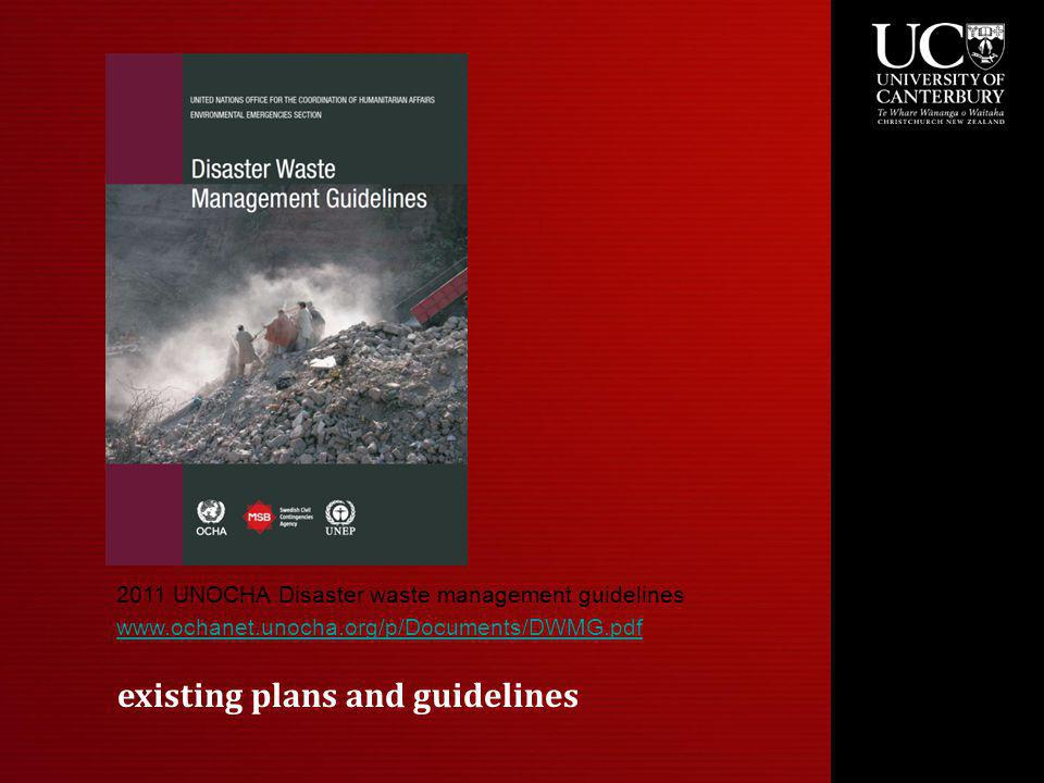 existing plans and guidelines 2011 UNOCHA Disaster waste management guidelines www.ochanet.unocha.org/p/Documents/DWMG.pdf