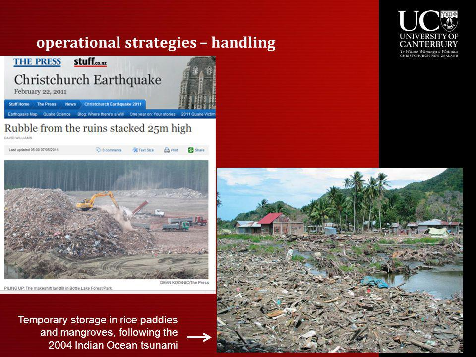 operational strategies – handling Temporary storage in rice paddies and mangroves, following the 2004 Indian Ocean tsunami