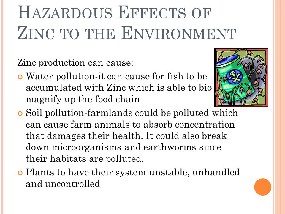 H AZARDOUS E FFECTS OF Z INC TO THE E NVIRONMENT Zinc production can cause: Water pollution-it can cause for fish to be accumulated with Zinc which is able to bio magnify up the food chain Soil pollution-farmlands could be polluted which can cause farm animals to absorb concentration that damages their health.