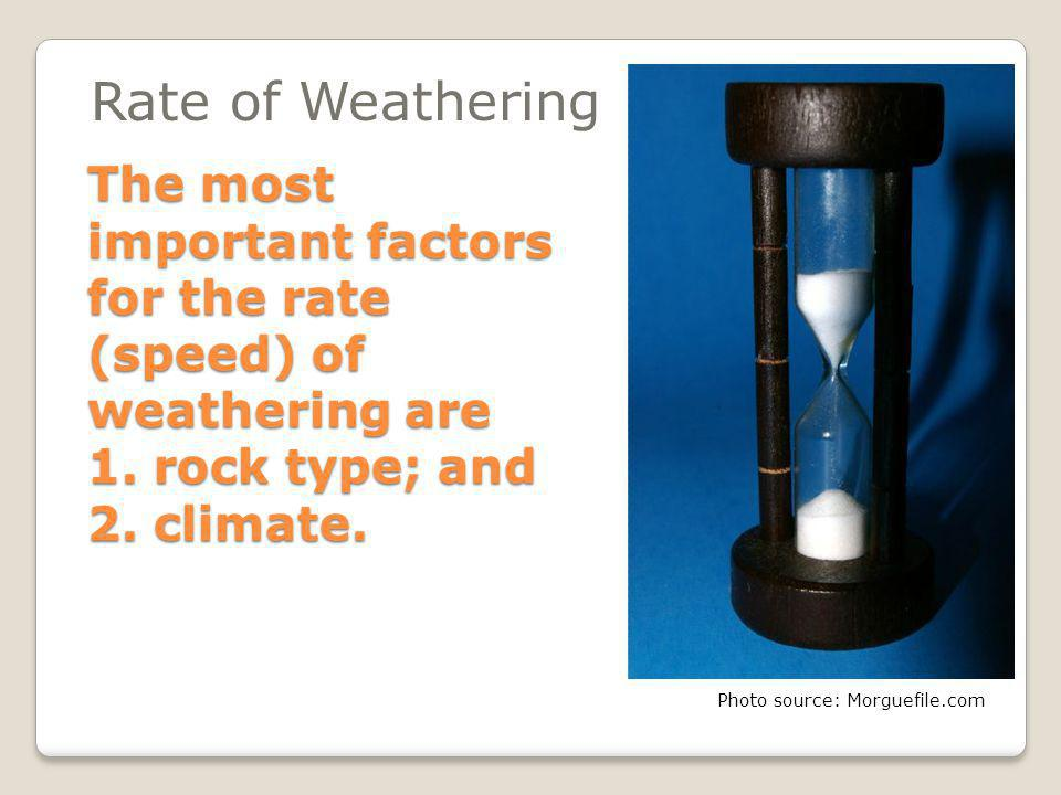 Part 3: Rates of Weathering What makes a rock weather fastest? Photo source: Morguefile.com