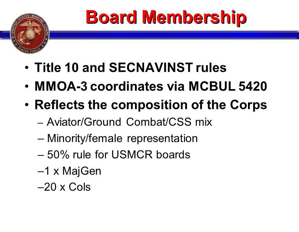 Board Membership Title 10 and SECNAVINST rules MMOA-3 coordinates via MCBUL 5420 Reflects the composition of the Corps – Aviator/Ground Combat/CSS mix