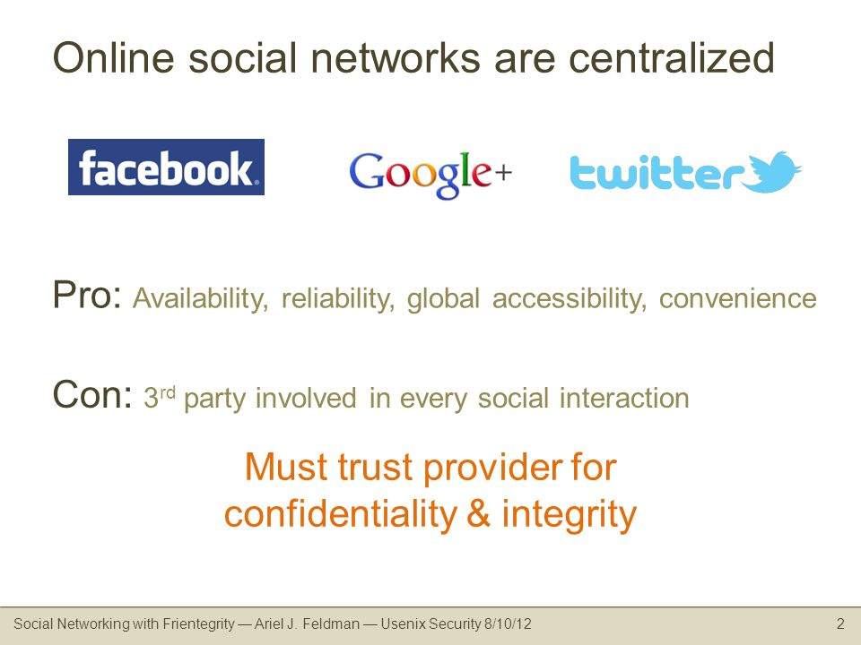 Online social networks are centralized Social Networking with Frientegrity Ariel J.