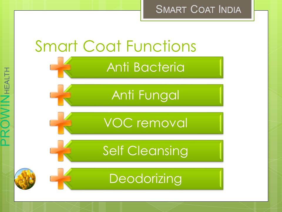 PROWIN HEALTH S MART C OAT I NDIA Smart Coat Functions Anti Bacteria Anti Fungal VOC removal Self Cleansing Deodorizing