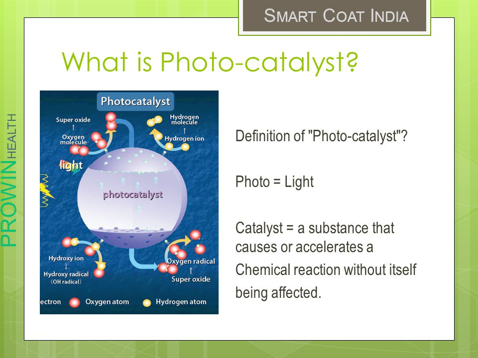 PROWIN HEALTH S MART C OAT I NDIA What is Photo-catalyst? Definition of