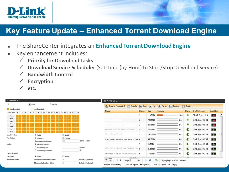 Key Feature Update – Enhanced Torrent Download Engine The ShareCenter integrates an Enhanced Torrent Download Engine Key enhancement includes: Priority for Download Tasks Download Service Scheduler (Set Time (by Hour) to Start/Stop Download Service) Bandwidth Control Encryption etc.